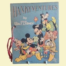 1939 Walt Disney HANKYVENTURES Children's Book Complete With Child's Handkerchiefs