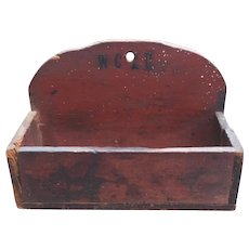 Historic Primitive Antique Wall Box In Old Red Paint