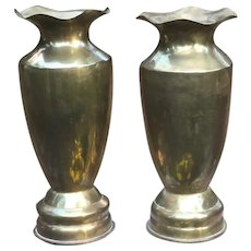 Massive Pair Of Trench Art Shell Vases