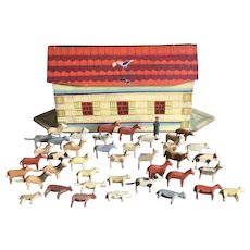 BEST Large German Folk Art Noah's Ark With Animals