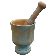 Antique Primitive Mortar And Pestle In Old Blue Paint