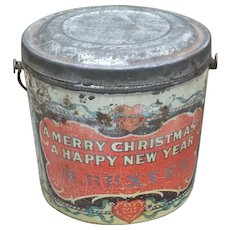 Antique Christmas Tin Candy Pail Advertising Premium