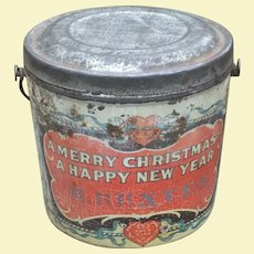 Antique Christmas Tin Candy Pail Advertising Premium