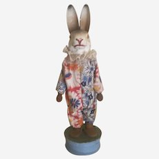Paper Mache Dressed Rabbit Easter Candy Container With Squeaker