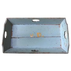 Antique Apple Tray In Blue Paint