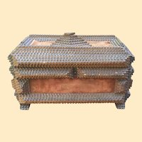 Folk Art Chip Carved Tramp Art Jewelry Box