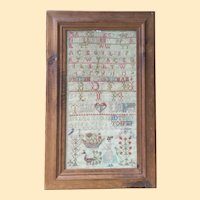 Antique Needlework Sampler Wonderful Graphics