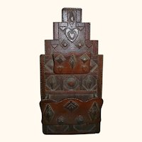 Folk Art Chip Carved Tramp Art Wall Box With Hearts