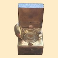 Leather Cased Brass 19th Century Traveling Inkwell