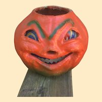 Large Grinning Vintage Halloween Pumpkin Lantern