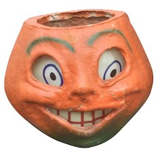 Halloween Paper Mache Pumpkin Lantern - Surprised!