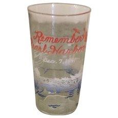 WWII Remember Pearl Harbor Commemorative Glass
