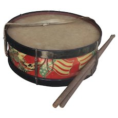 Wonderful Tin Lithographed Patriotic Drum