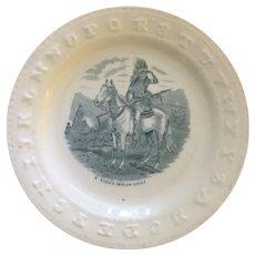 Rare Antique Child's ABC Plate Native American Transfer