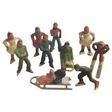 Lead Toy Skater Skier Sledding Figures Train Dollhouse Display