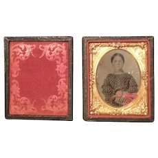 Sweet Cased Tinted Tin Type Young Girl With Lock Of Hair