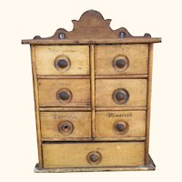 19th Century Spice Chest With Stenciling And Copper Lining