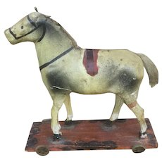 Antique Paper Mache Horse On Wheels