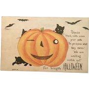 Winking Pumpkin 1912 Halloween Postcard