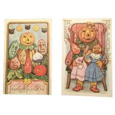 Halloween Anthropomorphic Postcards