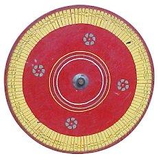 Wonderful Old Wooden Folk Art Carnival Game Gaming Wheel