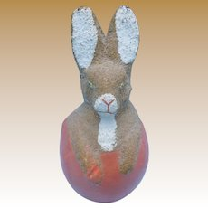 Precious Flocked German Paper Mache Rabbit Candy Container