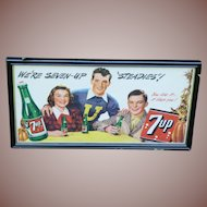 1948 Framed 7UP Trolley Card Advertising Sign