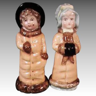 Antique Kate Greenaway Figurine Pair Figural Boy and Girl Salt Pepper Shakers with Long Gold Color Coats