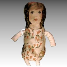 """Charming 11"""" Cloth Art Fabric Type Doll 1920s Make Do Arms and Legs"""