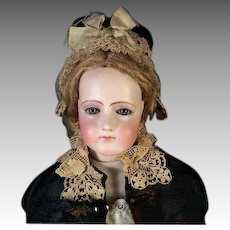 "Antique 20"" Portrait Jumeau French Fashion Bisque Head Doll Mature Jumeau Lady"