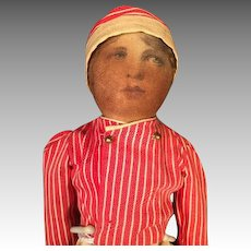 """14 1/2"""" Babyland Rag Doll with Life Like Face Early 1900s"""