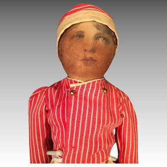 "14 1/2"" Babyland Rag Doll with Life Like Face Early 1900s"