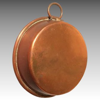 Antique Miniature German Kitchen Copper Pan with Riveted Handle for Hanging