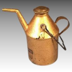 Antique Metal Petroleum Container Oil Can Gold Paint for Miniature German Kitchen