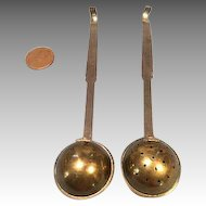 Antique 2 Piece Set Brass Long Handle Ladle & Sieve for Miniature German Kitchen