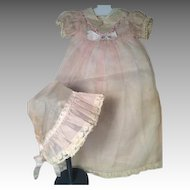 RARE Organdy Long Dress, Hat & Slip for Dy-Dee Baby or Tiny Tears Doll