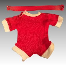 """Red Cotton Jersey Romper Outfit Fits 16"""" Dy-Dee Baby or Tiny Tears Doll"""