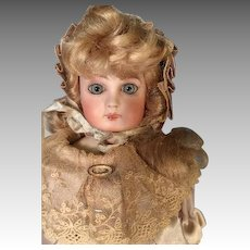 "11"" Bisque Head French Doll Lovely Beige or Off White Satin Custom Outfit with Antique Shoes"