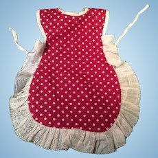 Nice Colorful Maroon Polka Dot Antique Doll Apron with Ruffle
