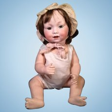 "19"" Antique Bisque Head Bent Leg Baby Doll GB 327 // A 10 M Armand Marseille"