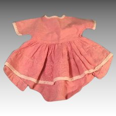 "Pink Romper Dress 1930s Fits 15-16"" Dy-Dee Baby or Tiny Tears Doll"