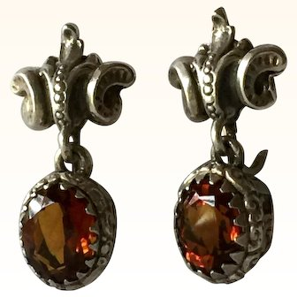 Gugliermo Cini Vintage Vintage Sterling Silver Madeira Citrine Baroque Earrings