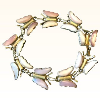 Vintage Beautiful Pink Abalone Shell Butterfly Bracelet Made In Mexico