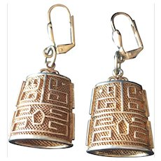 Vintage Chinese Export Gold Plated Sterling Silver Long Earrings