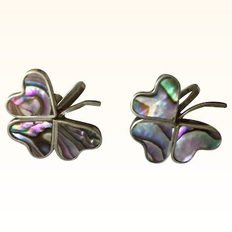 Vintage Sterling Silver Mexico Abalone Shell Clover Earrings Signed VKC