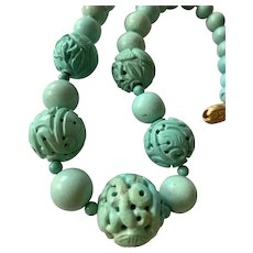 Vintage Chinese Carved Turquoise Beads Necklace