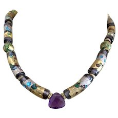 Superb Murano, Etruscan Gold Plate Beads & Amethyst Necklace