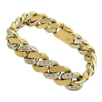 Vintage Italian  Diamond & 18K White & Yellow Gold Heavy  Link Bracelet