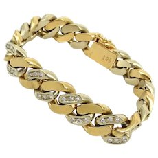 Vintage Italian  Diamond & 18K White & Yellow Gold Heavy  Link Bracelet