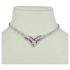 Antique Platinum Gold Art Deco Diamond Ruby Necklace